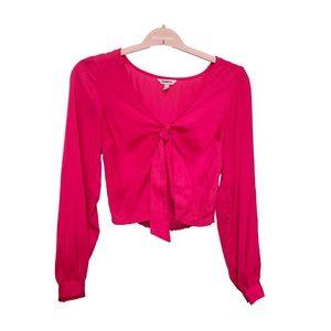 EXPRESS Satin-like Hot Pink Cropped Blouse